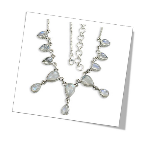 Sterling Silver Necklace with Rainbow Moonstone