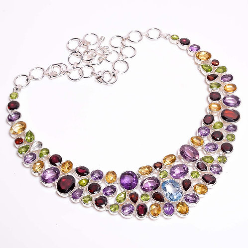 925 Sterling Silver Gemstone Fashion Necklace