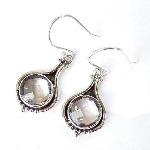 925 Sterling Silver Crustal Quartz Earrings
