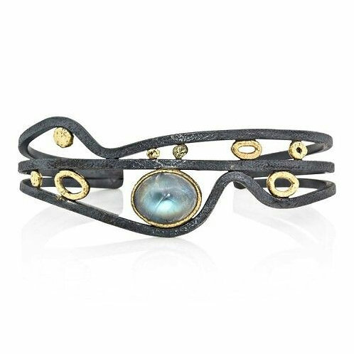 Gold Plated 925 Sterling Silver Bracelet with Single Gemstone