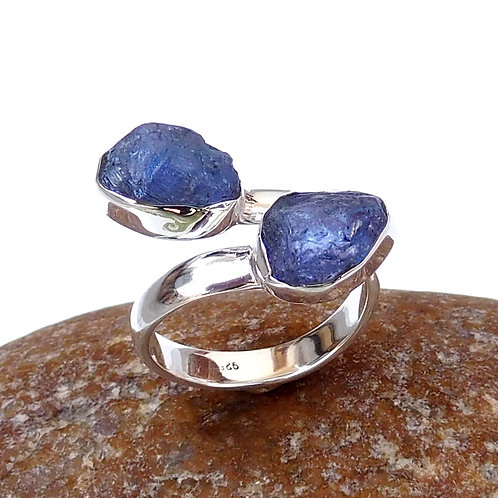 925 Sterling Silver Tanzanite Stone Adjustable Ring