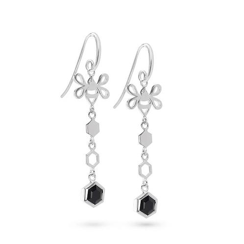 Pure 925 Sterling Silver Earrings Black Onyx