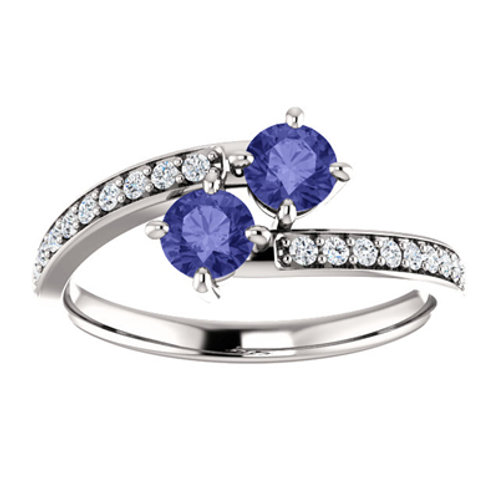 Tanzanite and CZ Decorated in Sterling Silver Ring