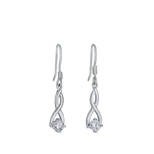 Drop Earrings Sterling Silver & Cubic Zirconia