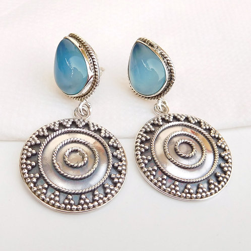 Solid 925 Sterling Silver Earring, Handmade Silver Gemstone Earring