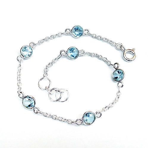 925 Sterling Silver Bezel set Bracelet, Bezel set Handmade Bracelet