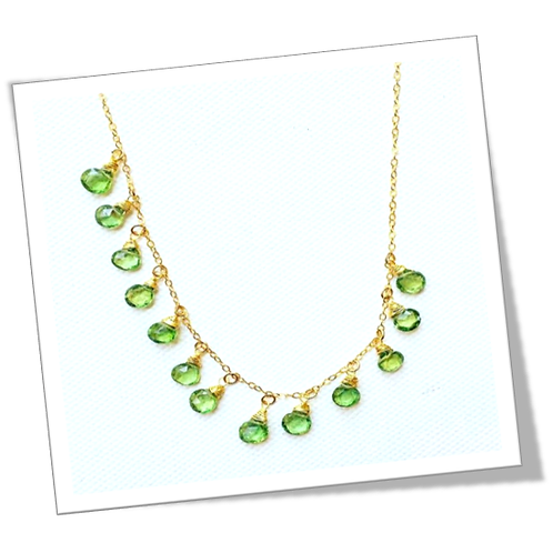 Sterling Silver Necklace with Peridot Gemstone