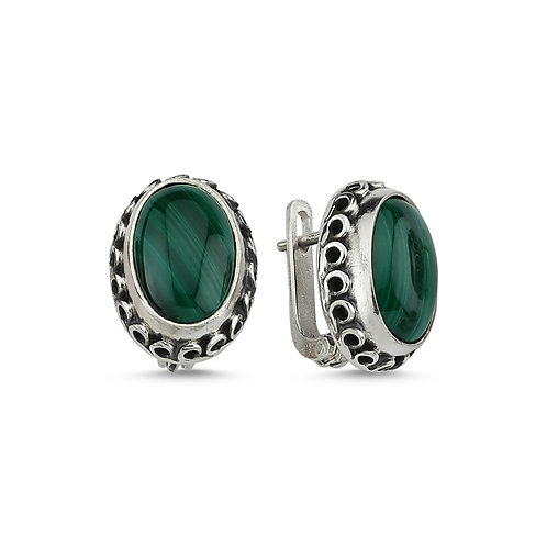 Green Malachite Stud Earrings -  Artistic Silver Stud Earri