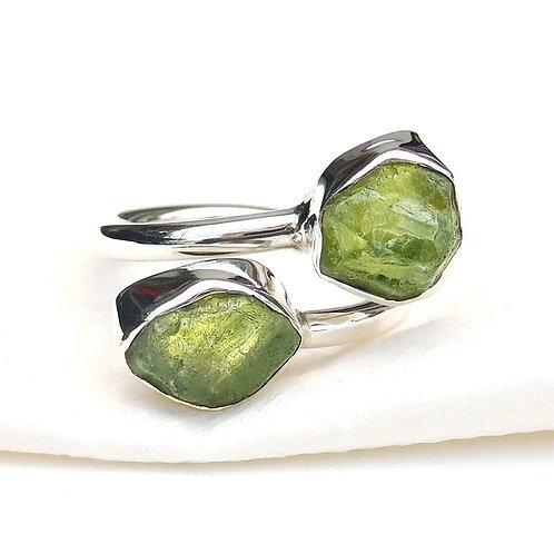 35% Off Natural Green Rough Cut Peridot Ring, 925 Sterling Silver Ring