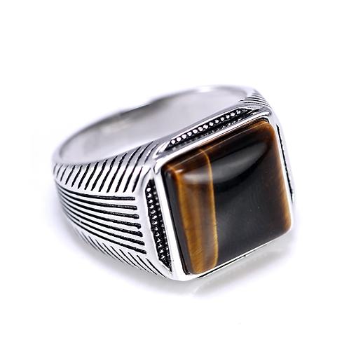 925 Sterling Silver Ring Artistic Silver Tiger Eye Ring