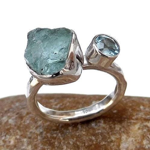 925 Sterling silver Multi Stone Ring, Raw Aquamarine & Blue Topaz Ring-SR002