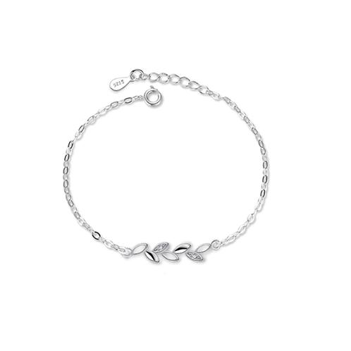 Leaf 925 Sterling Silver Chain Bracelet