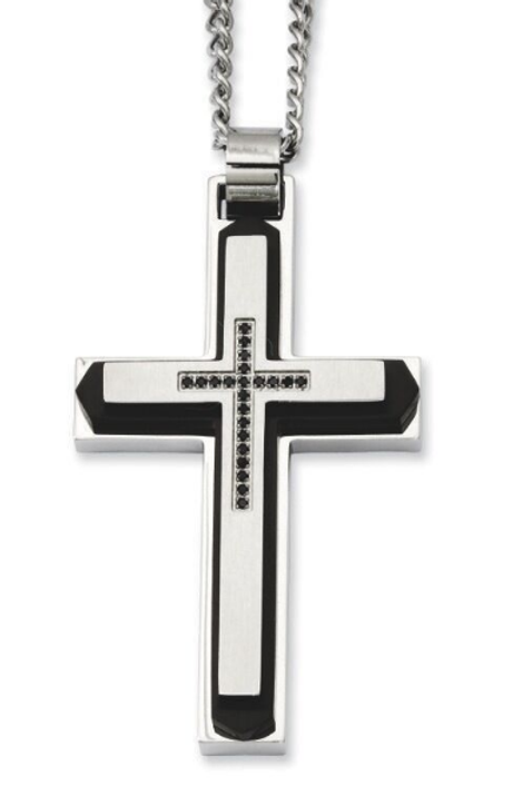 Chisel Black Plated & Black Onyx Cross Pendant Necklace 22