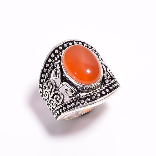 Hand Crafted 925 Sterling Silver Semi Precious Coraline Gem Stone Ring