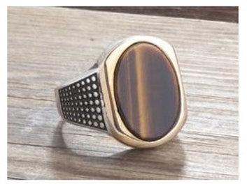 Signet Tiger Eye in 925 Sterling Silver Ring Artistic Silver