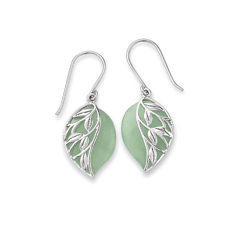 Green Jade and Sterling Leaves Earrings