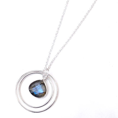 Labradorite Necklace, Bezel Set