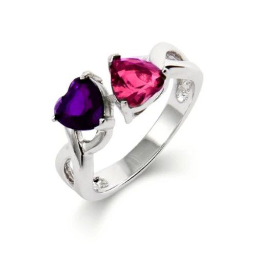 925 Sterling Silver Dual Birthstone Ring