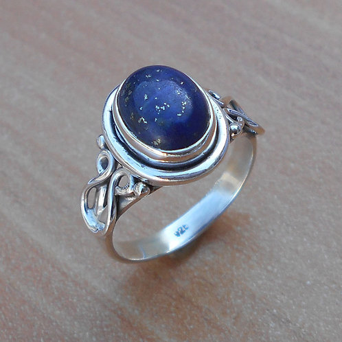 Blue Lapis Gemstone Silver Ring Handmade