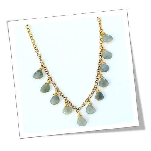 Sterling Silver Necklace with Labradorite Gemstone