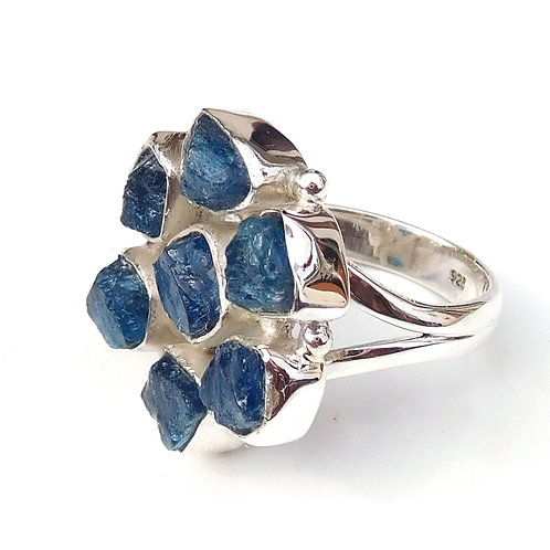 Apatite Ring, Neon Blue Apatite Ring 925 Sterling Silver