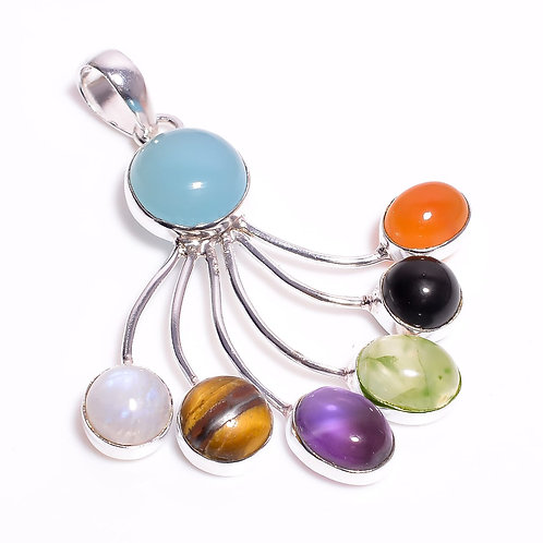 Multistone Sterling Silver Fashion Jewelry Pendent
