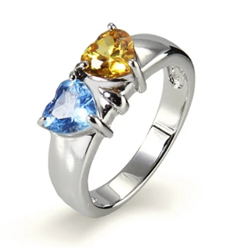 925 Sterling Silver Twin CZ Birthstone Ring