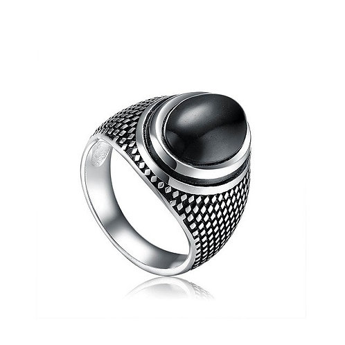 925 Sterling Silver Ring Artistic Silver Black Onyx Ring