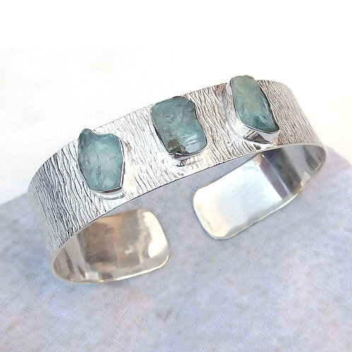 925 Sterling Silver Cuff Bracelet with Natural Aquamarine Stone