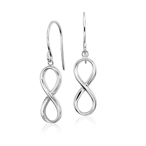Pure 925 Sterling Infinity Drop Silver Earrings