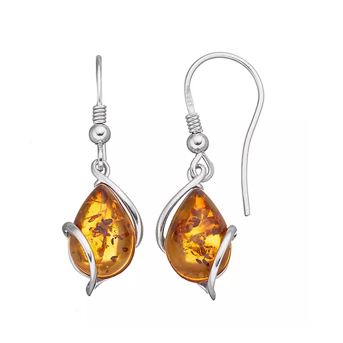 Amber Drop Silver Earrings