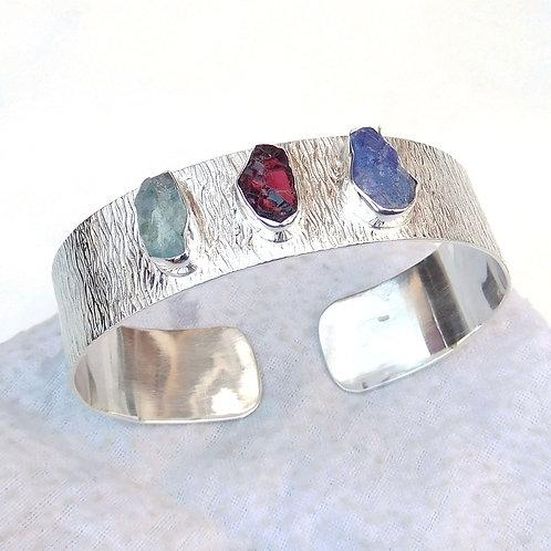 925 Sterling Silver Multi Stone Cuff Bracelet