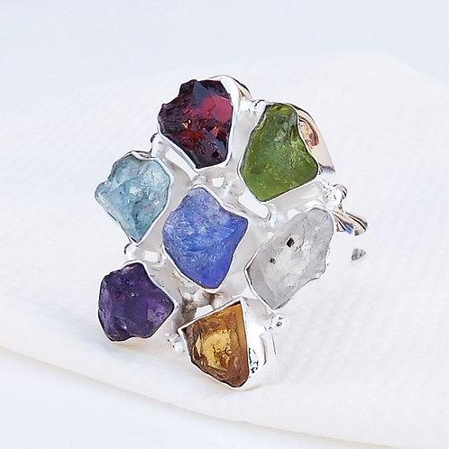Multi Raw Gemstone Ring, 925 Sterling Silver Multi Stone Cluster Ring
