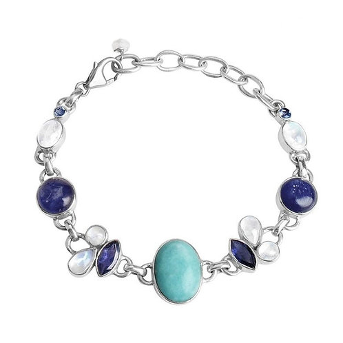 Sterling Silver Bracelet Larimar, Tanzanite, Moonstone
