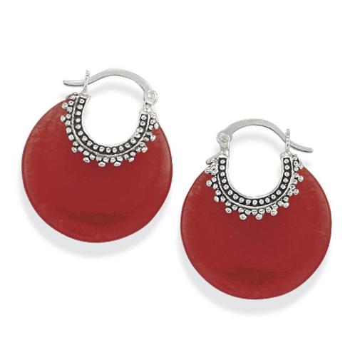 Red Quartz & 925 Sterling Silver Hoop Pierced Earrings
