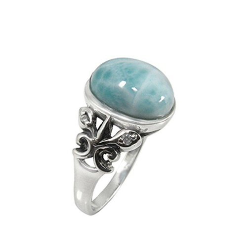 925 Sterling Silver Ring Artistic Silver Larimar Ring