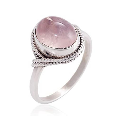 925 Sterling Silver Rose Quartz Oval Gemstone Ring