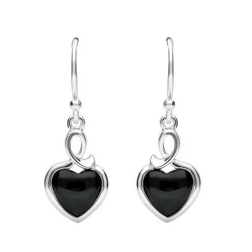 Pure 925 Sterling Silver Earrings Black Onyx