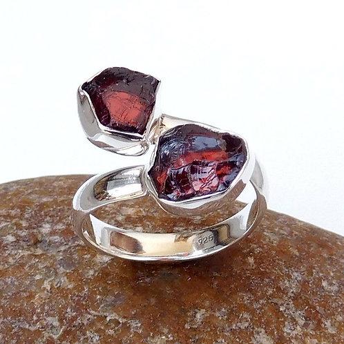 925 Sterling Silver Garnet Stone Adjustable Ring