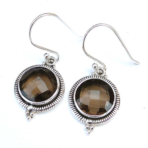 Sterling Silver Smoky Quartz Gemstone Earrings