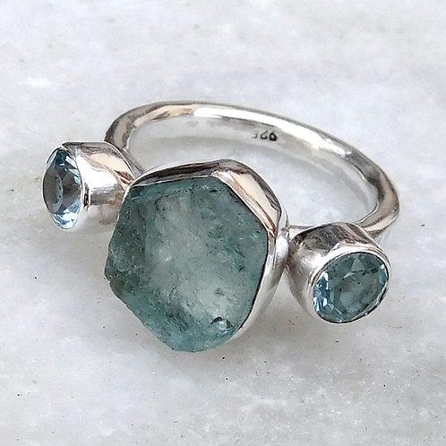 Multi Stone Ring, Raw Aquamarine & Blue Topaz Ring, Hammered Band Ring