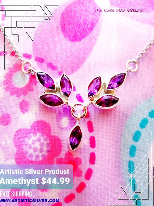 Amethyst Silver Necklace Artistic Silver Jewelry