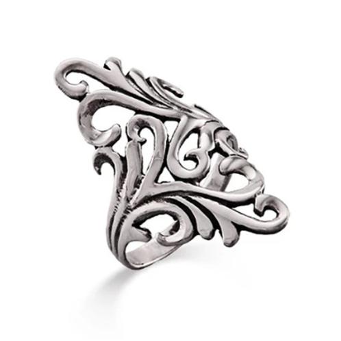 Long Ornate Design Silver Ring