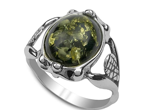 Genuine Green Amber Antiqued Sterling Ring