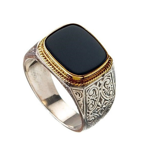 Signet Black Onyx in 925 Sterling Silver Ring / Artistic Silver