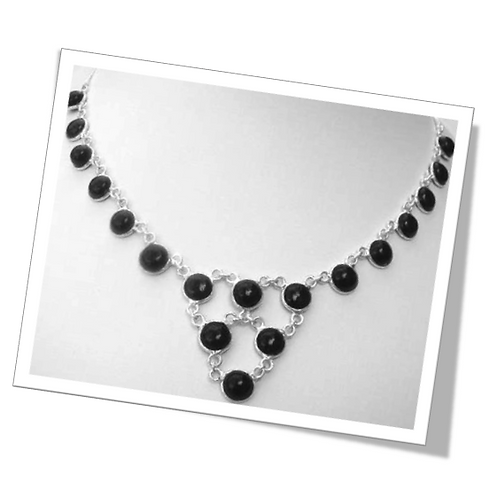 Sterling Silver Necklace with Black Onyx