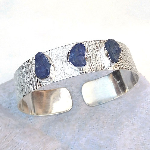 925 Sterling Silver Cuff Bracelet with Natural Tanzanite Stone