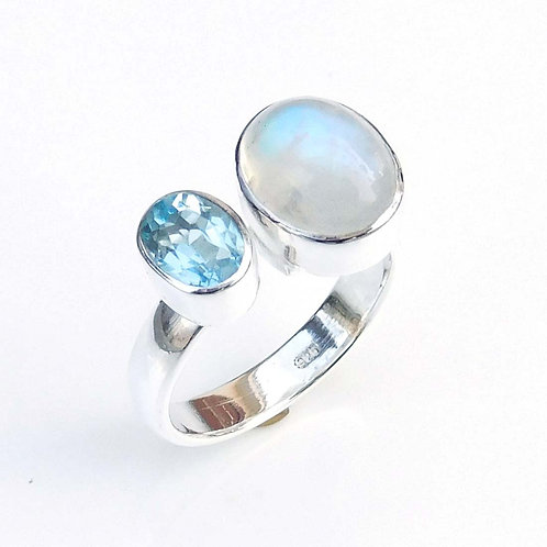 Multi Stone Ring, Moonstone & Blue Topaz Ring, 925 Sterling silver Ring-SR103