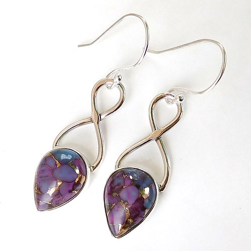 Purple Turquoise Earring 925 Sterling Silver Purple Turquoise Earring