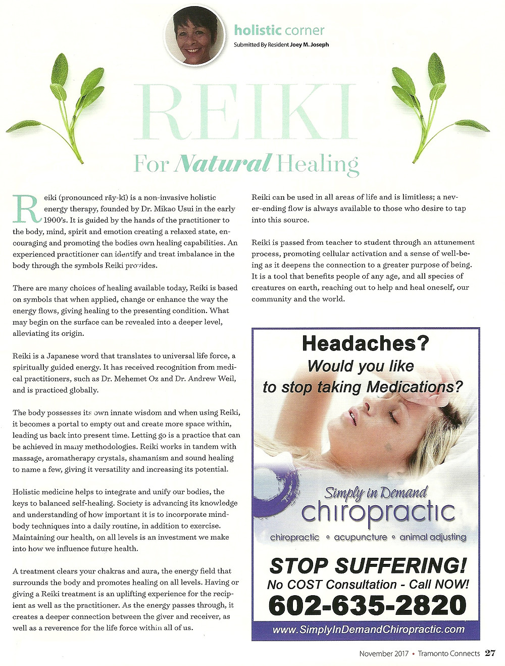 Reiki article in Tramanto connects